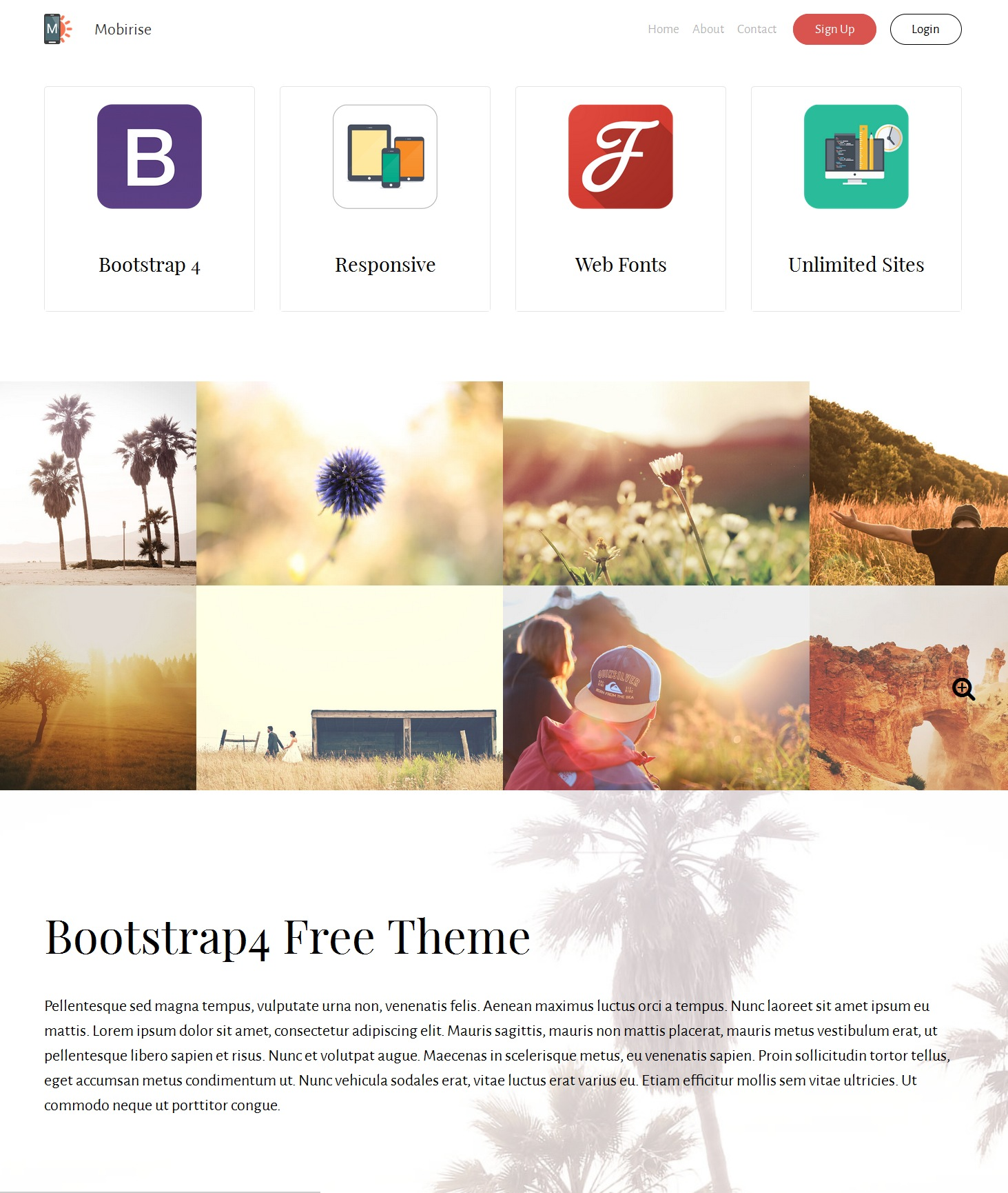 HTML Bootstrap Landing Page Theme