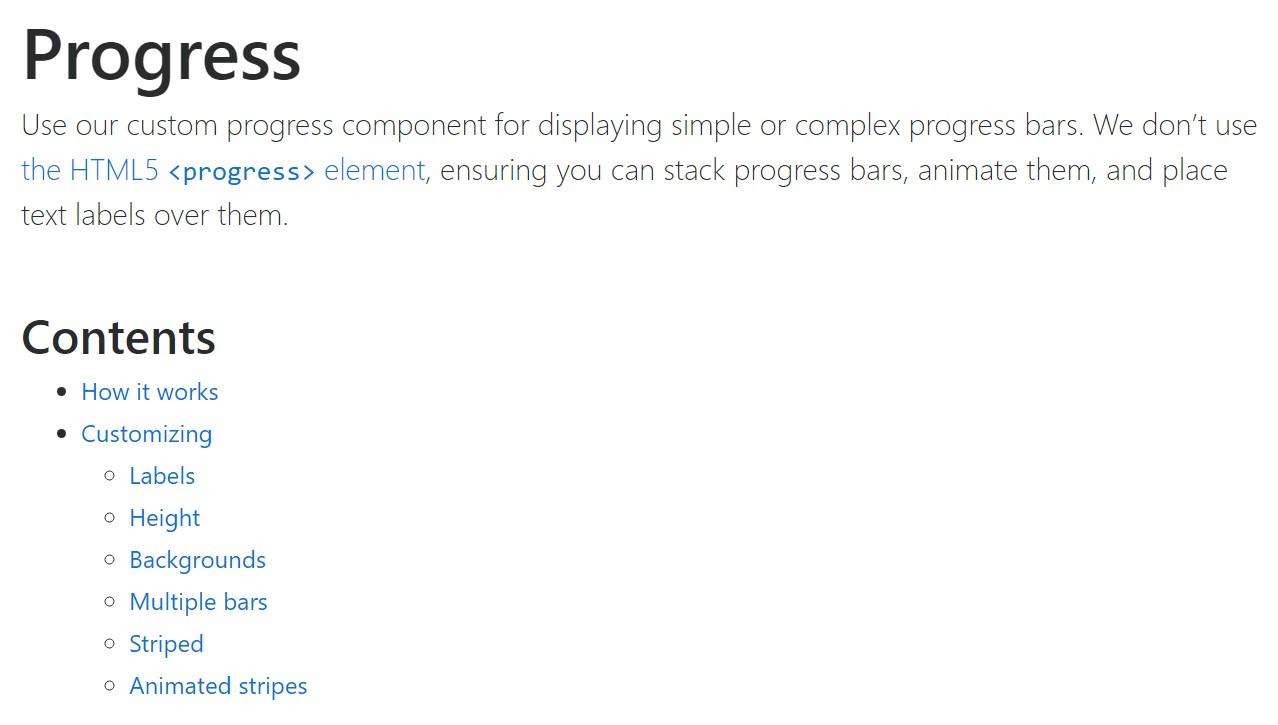 Bootstrap progress bar official  information