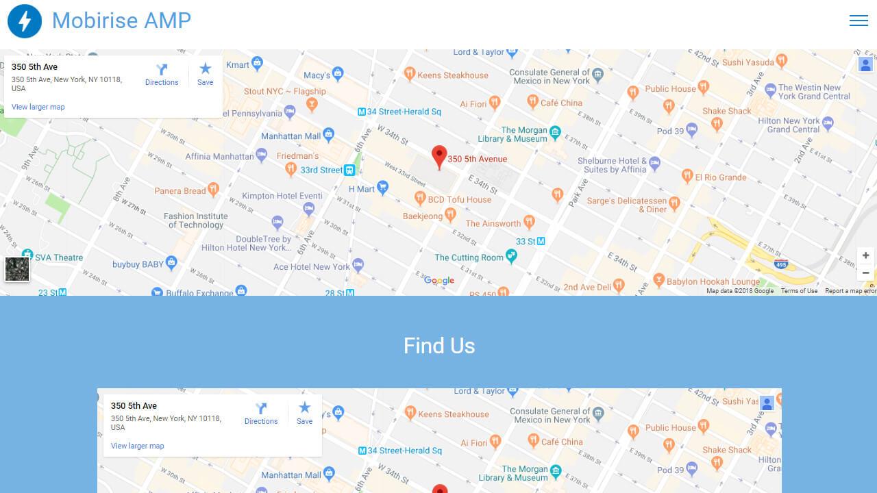 AMP CSS Maps & Social Template